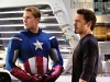 Chris Evans e Robert Downey JR in una scena di The Avengers